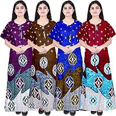 Mudrika Women's Cotton Nighty, Nightdress (Combo of 4 Pcs)
