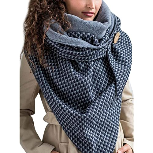Sciarpa calda invernale da donna, scaldacollo con bottoni e stampa retrò, scialle multiuso avvolgente