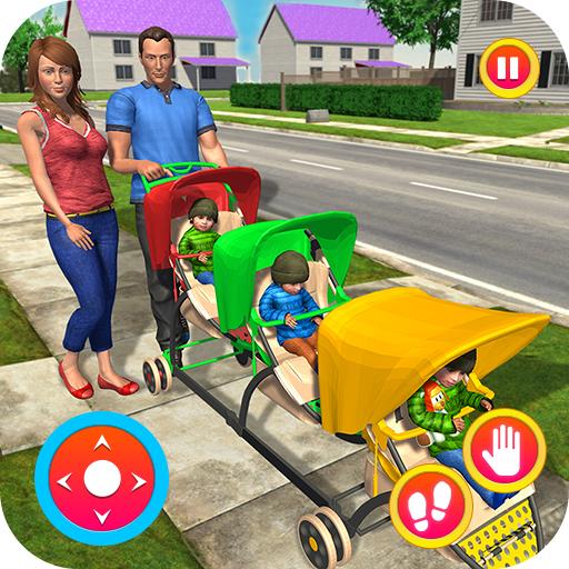 Virtuelle neue Mutter-Baby-Triplets Pflege Spiel