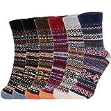 Fixget Calcetines Invierno Mujer, 6 Pares Calcetines Termicos Mujer, Lana Calcetines para Hombres y Mujeres de Punto de Estil