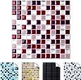 Wandaro 4er Pack 25,3 x 25,3 cm rot beige Silber Design 4 I 3D Fliesenaufkleber Mosaik große Auswahl für Küche Bad Fliesenfolie selbstklebend Wandaufkleber W3329