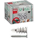 TOX Gipsplaatpluggen spiraal 32 mm met schroef 4,5 x 45 mm, voor eenlaags gipsplaten panelen, 50 stuks pluggen en 50 verzonke