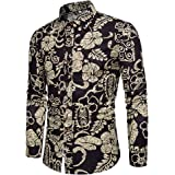 Allthemen Mens Fashion Floral Printed Long Sleeve Shirts National Style Tee Tops