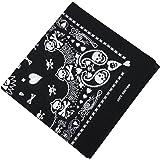 TRIXES Bandana nera con disegno di teschio bianco doppio lato foulard per coprire il capo.