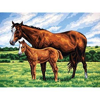 Running Horses Grafitec Printed Tapestry//Needlepoint Canvas