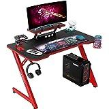 IntimaTe WM Heart Mesa Gaming 110cm Mesa Ergonómico para Ordenador, Escritorio de Fibra de Carbono, Escritorio con Divisor de