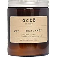 Bergamot essential oil soy wax candle 180ml. Handmade by OCTŌ in London