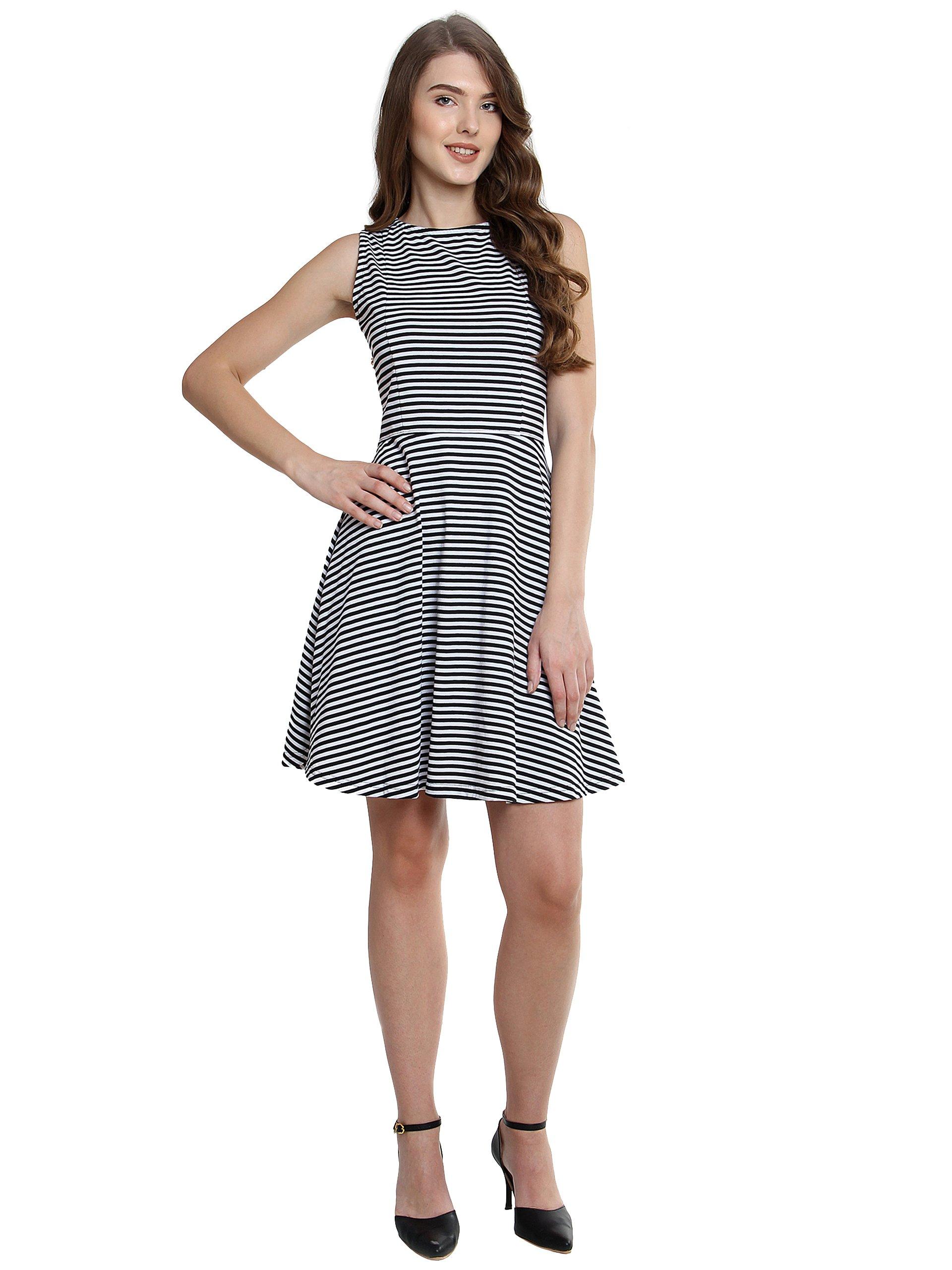 b59a0e07308a Miss Chase Women s Black and White Striped Skater Dress - Gia Designer