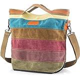 SNUG STAR Handtasche Damen,Canvas Tasche Damentasche Multi-Color-Striped Umhängetasche Damen Groß Schultasche Canvas Shopper