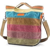 SNUG STAR Handtasche Damen,Canvas Tasche Damentasche Multi-Color-Striped Umhängetasche Damen Groß Schultasche Canvas…