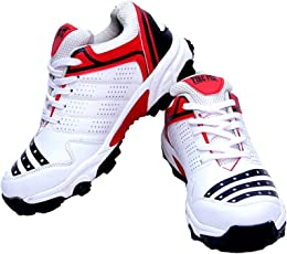 FIRE FLY All Rounder Sports Stylish Cool Looks All Season PU White/Red Light Weight Lace-up Closer Cricket Shoe Pair Ideal for Men/Senior/Adult/Boys Brand New Shoes