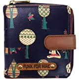 Funk For Hire Women Printed Dark Navy Blue Vegan Leather square wallet
