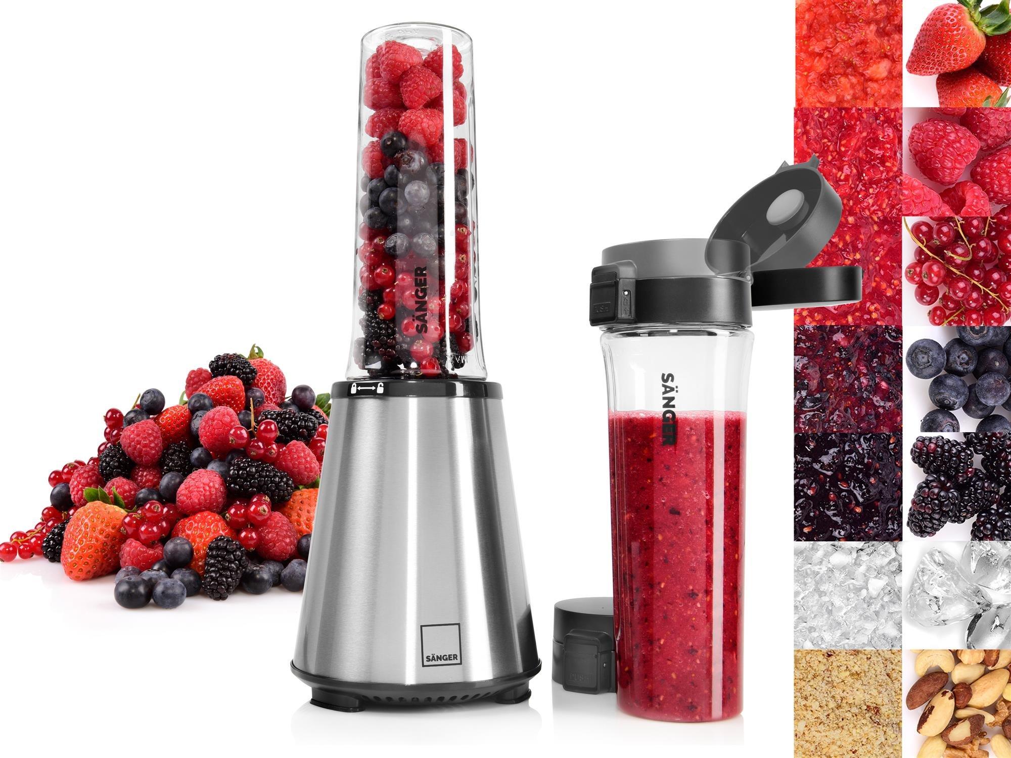 Snger-Standmixer-Smoothie-Maker-20-300W-04PS-Neue-Generation-2x-BPA-freie-550ml-Tritan-Trinkflaschen-Smoothie-Mixer-mit-neuem-Push-N-Flip-Deckel-Edelstahlgehuse-mit-verbessertem-Motor