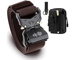 BESTKEE Cinturón táctico para Hombres, 3.8cm Cinturón Resistente, Cinturón Nylon Hebilla de Metal de Liberación Rápida, Regal