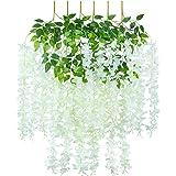 Fleurs de Wisteria artificielles Vigne Fausse Guirlande de glycine Fleurs suspendues pour Mariage Jardin Decorations de Fete