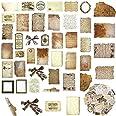 108 Papiers de Scrapbooking Vintage Autocollants de Bricolage Papier de Découpage Classique Vieux Papier Parchemin Vieilli Em