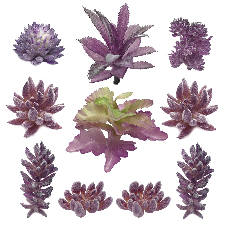 PietyDeko Suculentas Falsas, 10pcs Púrpura Grandes suculentas Artificiales y Ornamentos de Plantas de Cactus para la…