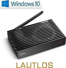 Mini PC - lautlose CSL Narrow Box Ultra HD Storage Line/Win 10 - Silent-PC mit Intel QuadCore CPU 2300MHz, 32GB SSD, 4GB DDR3-RAM, Intel HD, AC WLAN, USB 3.1, HDMI, SD, Bluetooth, Windows 10