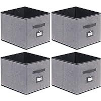 homyfort Lot de 4 Boîtes/Tiroirs en Tissu Cube de Rangement Pliable Coffre pour Linge, Jouets, Vêtement avec poignées en…