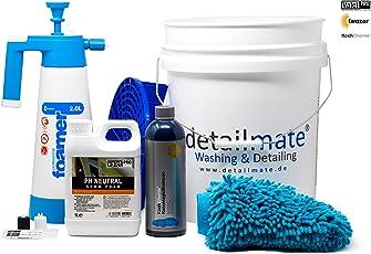 detailmate Set - Vorwäsche: ValetPro PH neutral Snow Foam, Kwazar Foamer 2L - Hauptwäsche: Koch Chemie Nano Magic Shampoo 750ml, Gritguard Eimer 20L,Gritguard Schmutzeinsatz, Waschhandschuh