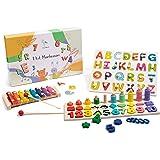 Wigvistork   Giochi Montessori Educativi 3 4 5 6 Anni   Set di 3 Giocattoli Didattici in Legno per Gioco Bambini   2 Puzzle +