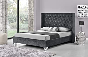 wing back bed frame upholstered fabric velvet chenille double king size charcoal chenille king amazoncouk kitchen home