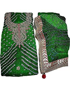 Bandhani Art silk gota patti work suit