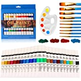 Olieverf Set, 24 olie-gebaseerde kleuren verf voor kunstenaars 12ml acryl verf sets met 10 penseel Sets 1 palet Ideaal voor p