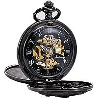 Treeweto - orologio da taschino meccanico antico con drago portafortuna, cassa cava, doppio quadrante con scheletro a…