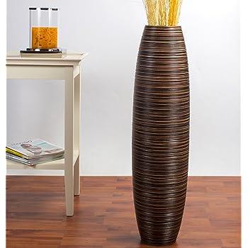 Leewadee Grande Vaso da Terra 75 cm, Legno di Mango, Marrone