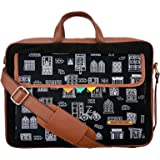 Funk For Hire Printed One Pocket Cotton Canvas Unisex 15.6 inch Laptop Bag Black