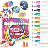 JOSEKO Penna a Sfera in Acrilico a 12 Colori con Set di pennarelli per Pittura su Roccia in Ceramica e Vetro in Porcellana