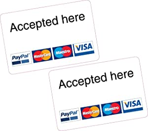 13X Accepted Here PayPal MasterCard Maestro Visa Card Reader Additional  Stickers