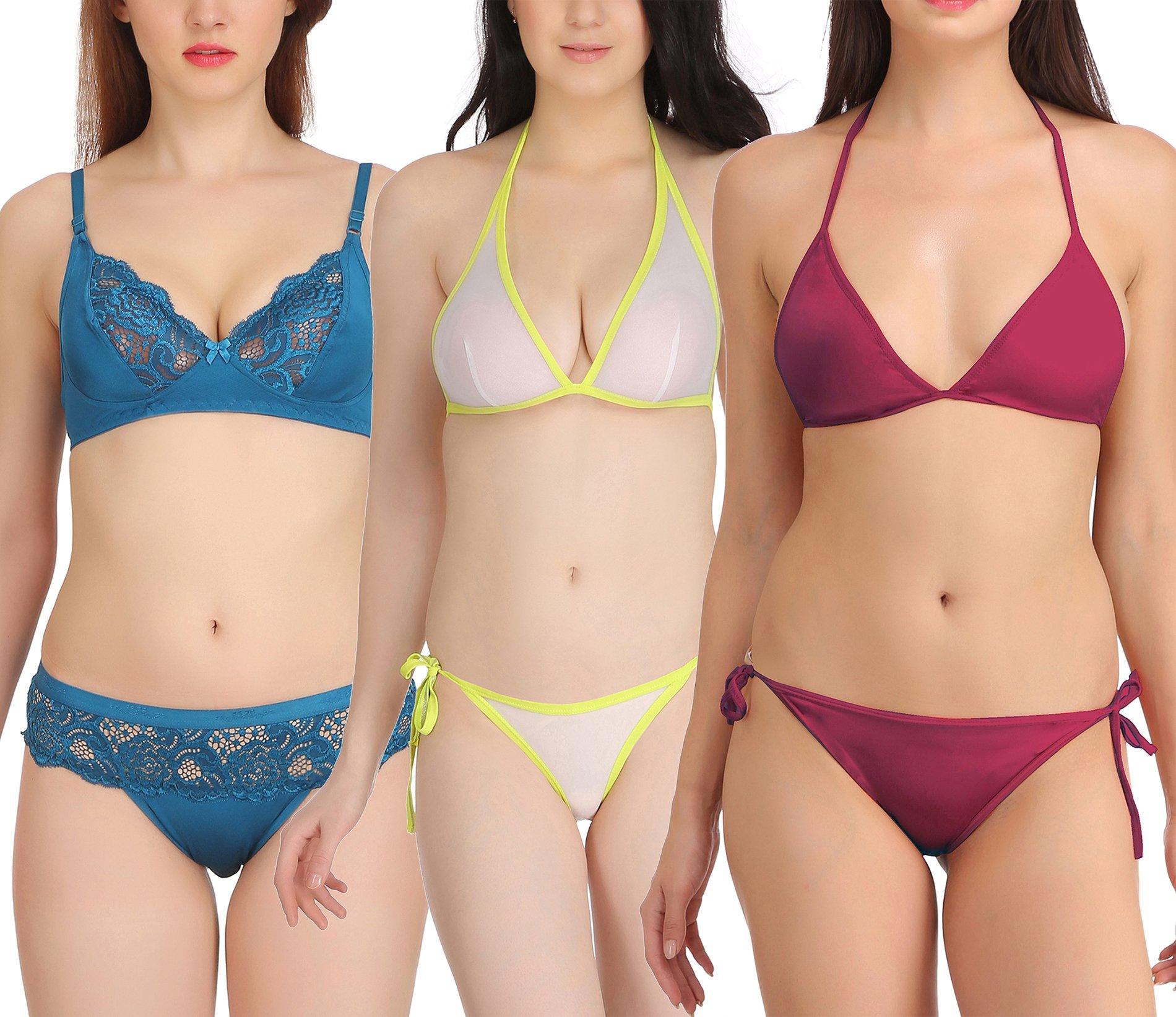 accd887bd5b2a FIMS® Women s Girls Satin Nylon Lycra Spandex Sexy Bra Panty ...