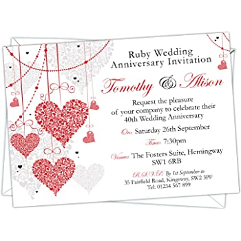 Invitation Wedding Anniversary Ruby Foil 6 Pack With