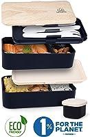 Umami® ⭐ Lunch Box Noir Bambou | Boîte Bento Japonaise Premium avec 3 Couverts Solides Et 1 Pot À Sauce | 1200ml |...