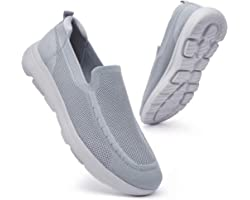konhill Mens Walking Shoes Slip-on Trainers - Lightweight Breathable Mesh Comfortable Gym Sports Tennis Soft Fashion Sneakers