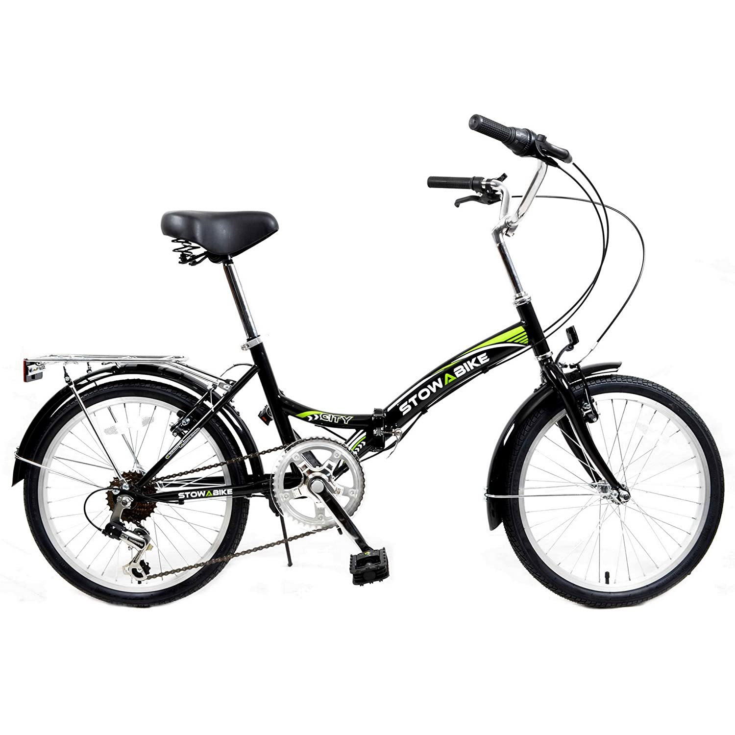Stowabike folding city compact bike black green amazon co uk sports outdoors