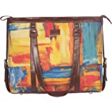 ZOUK Multicolor Abstract Printed Handmade Vegan Leather Women's Office Bag for 15.6 inch Laptop with double handles - Abstrac