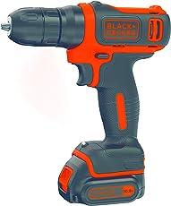 BLACK+DECKER BDCD12 10.8V Li-Ion Cordless Drill (Orange, 3-Pieces)