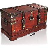 Brynnberg Skrzynia na skarby duża z zamkiem, 40 x 19 x 22 cm, drewniana skrzynia na skarby, piraci, poszukiwanie skarbów, dre