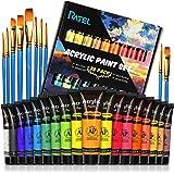 RATEL Zestaw farb akrylowych, 18 tubek wysokiej jakości akrylowych pudełek, 18 x 36 ml, pigment akrylowy, mieszany, wodoodpor