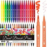 Dual Brush Pen Set, 36 Farben, Pinselstifte, Filzstifte für Kinder Bullet Journal Handlettering Aquarell Mandala Kalligraphie