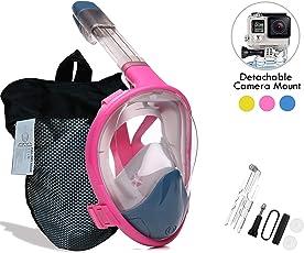 boliguo voll trockenen Tauchermaske mit Anti-Fog-und Anti-Leak-Technologie. 180 Grad Blickfeld für Erwachsene, Kinder. Kamera Halterung. Lebensmittelqualität Silikon + gehärtetes Glas Tauchmaske