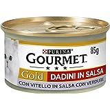 Gourmet Purina Gold Umido Gatto Dadini in Salsa con Vitello in Salsa con Verdure - 24 Lattine da 85 g Ciascuna (Confezione da
