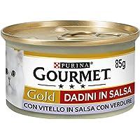 Gourmet Purina Gold Umido Gatto Dadini in Salsa con Vitello in Salsa con Verdure - 24 Lattine da 85 g Ciascuna…