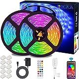 Tiras de LED Bluetooth, ALED LIGHT 5050 RGB 2x5 metros Luces de Tira LED 300 Banda de Luz Impermeable de Controlada por Contr