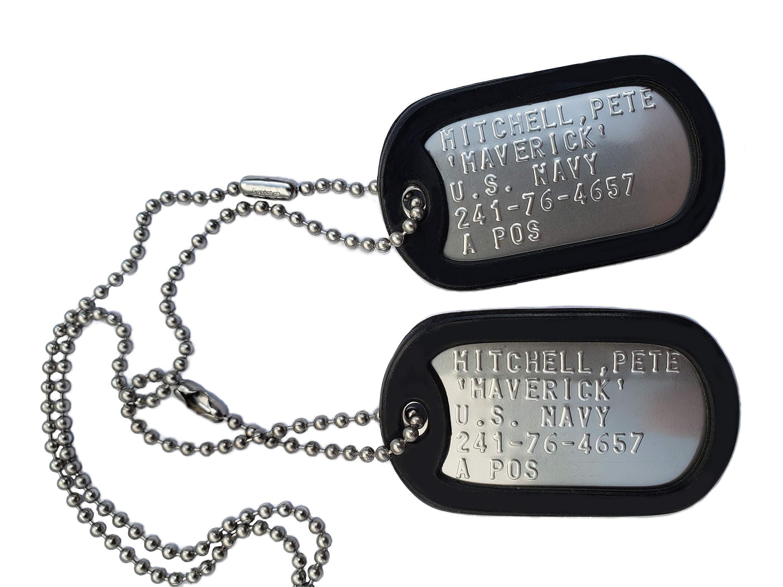 GRAPHOTYPE™ TOP GUN PETE MITCHELL MAVERICK STAINLESS STEEL DOG TAG SET