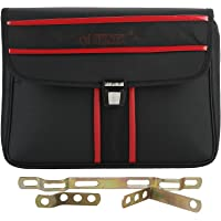 Autofy Sonex Side Bag and Metal Clip for All Bikes (Black and Red)