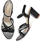 XE Looks Cross Strap Block Heel Sandals for Women